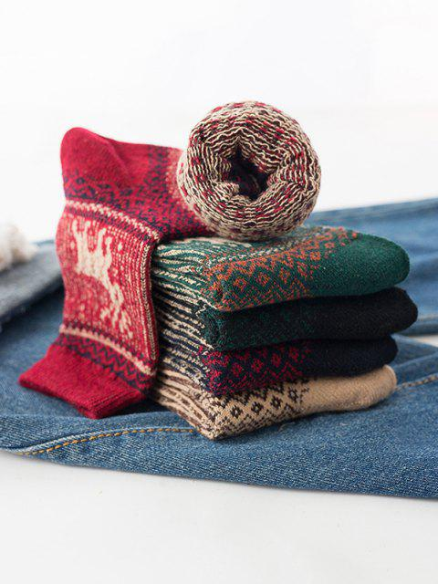 fancy 5 Pairs Elk Pattern Quarter Socks Set - MULTI-A  Mobile