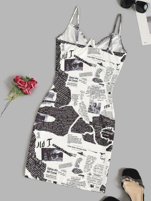 latest Newspaper Print Underwire Cami Bodycon Dress - WHITE L Mobile