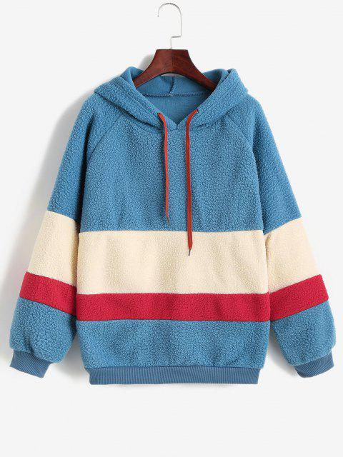outfits Colorblock Raglan Sleeve Teddy Hoodie - MULTI-A ONE SIZE Mobile