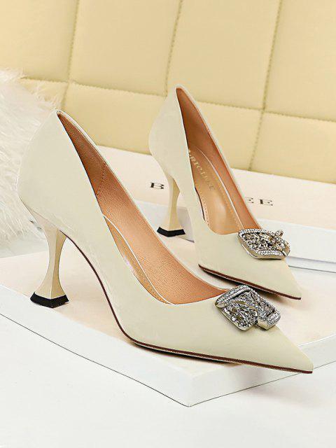 womens Metal Rhinestone High-heeled Shoes - WHITE EU 38 Mobile