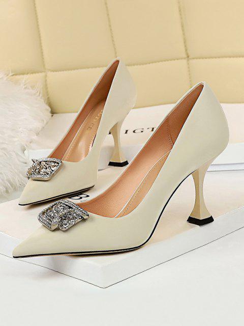 Metal Rhinestone High-heeled Shoes - أبيض الاتحاد الأوروبي 39 Mobile