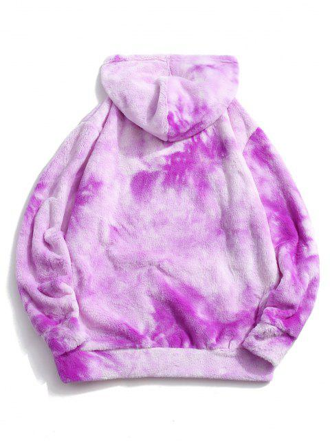 outfit Tie Dye Faux Fur Ring Half Zipper Hoodie - TYRIAN PURPLE S Mobile