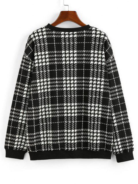 ZAFUL Drop Shoulder Plaid Sweatshirt - أسود S Mobile