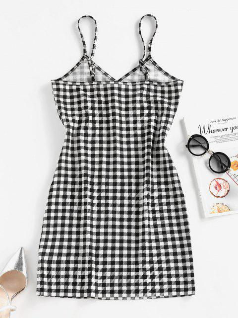 best ZAFUL Checked Mini Bodycon Dress - BLACK M Mobile