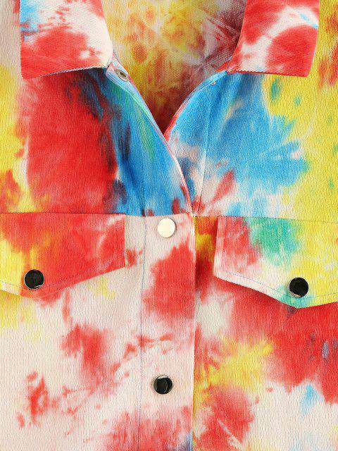 ZAFUL Chaqueta de Cuello de Tie Dye - Multicolor-B S Mobile