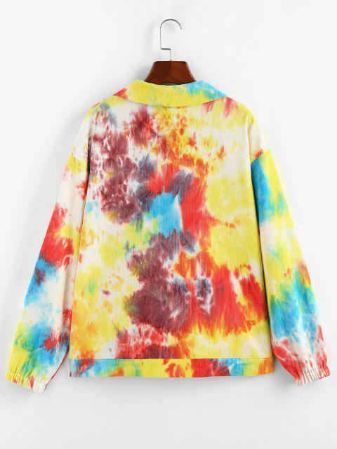 ZAFUL Chaqueta de Cuello de Tie Dye - Multicolor-B L Mobile