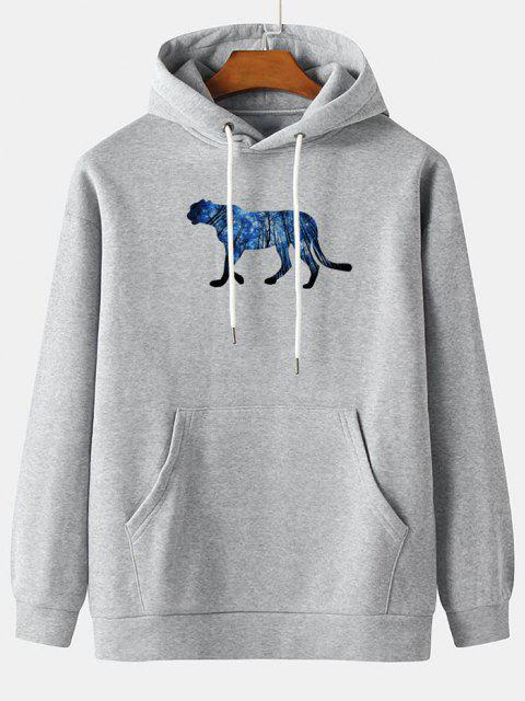 online Galaxy Forest Animal Pattern Fleece Hoodie - LIGHT GRAY 2XL Mobile
