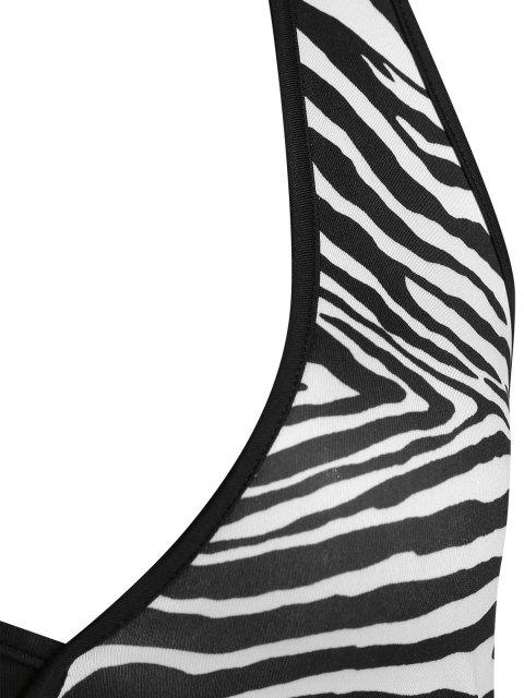 latest ZAFUL Zebra Halter Backless Crop Tank Top - BLACK L Mobile