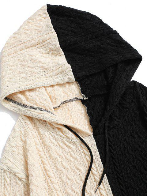 Sweat à Capuche Graphique Bicolore en Tricot à Câble - Noir S Mobile