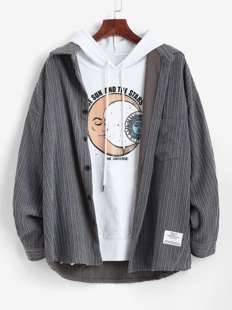 sale Letter Patched Pocket Corduroy Shirt - GRAY 2XL Mobile