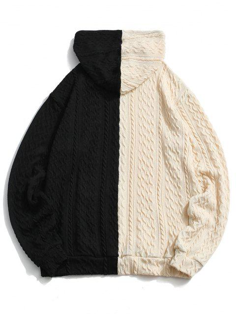 hot Two Tone Cable Wire Graphic Knit Hoodie - BLACK L Mobile