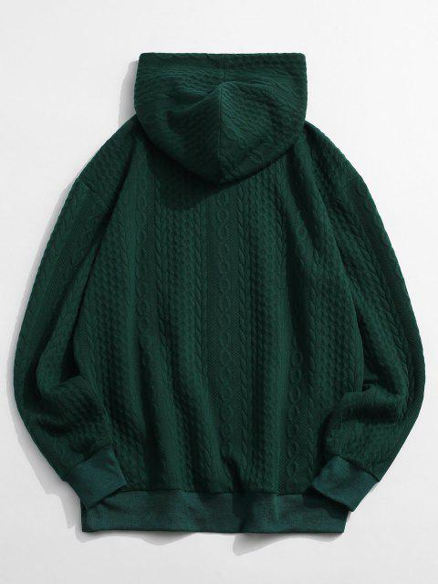 new Front Pocket Embossed Pattern Solid Hoodie - DEEP GREEN 2XL Mobile