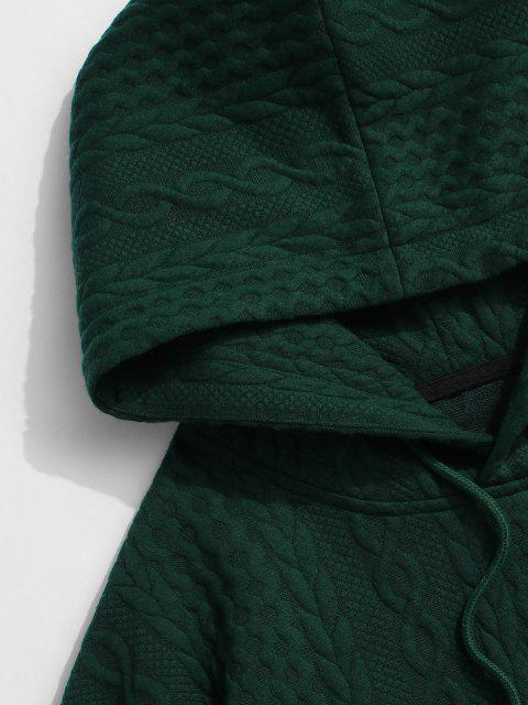 buy Front Pocket Embossed Pattern Solid Hoodie - DEEP GREEN M Mobile