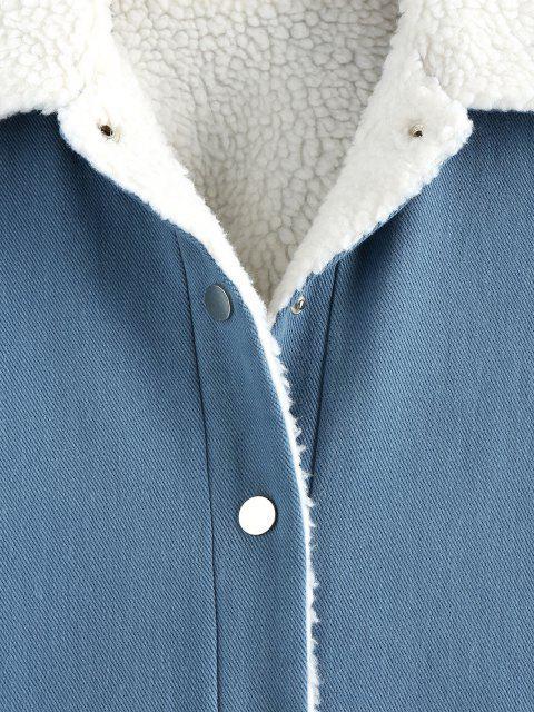 ZAFUL Manteau avec Poche à Doublure en Fausse Laine à Col Borg - Ardoise bleue S Mobile
