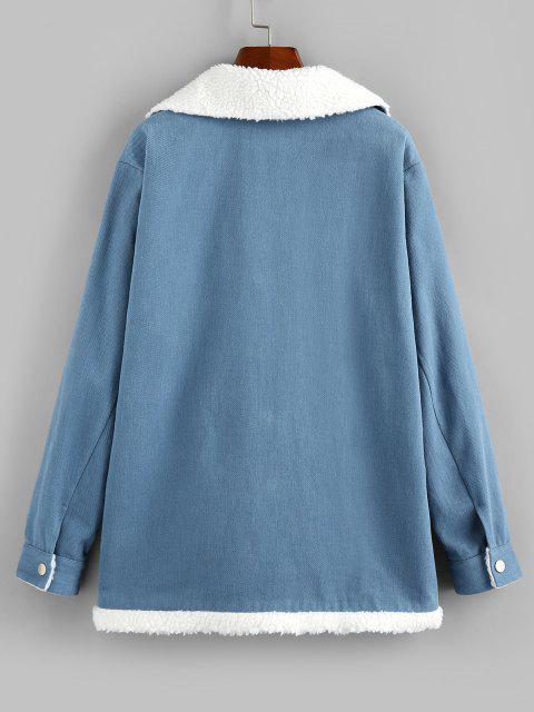 ZAFUL Faux Shearling Lined Borg Collar Pocket Coat - لائحة الأزرق XL Mobile