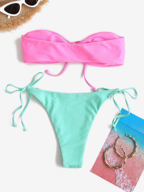 ZAFUL O Ring Farbblock Bandeau Bikini Badebekleidung - Hell-Pink S Mobile