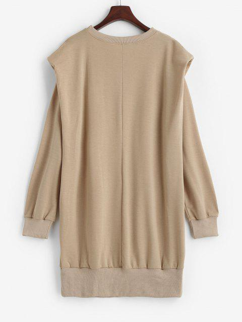 outfits Crewneck Shoulder Pads Sweatshirt Dress - LIGHT COFFEE S Mobile