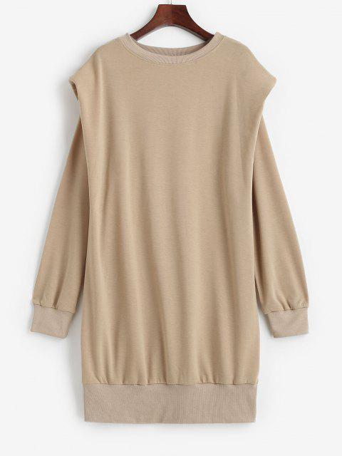 best Crewneck Shoulder Pads Sweatshirt Dress - LIGHT COFFEE XL Mobile
