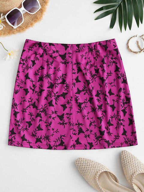 outfits ZAFUL Slit Butterfly Print Mini Skirt - ROSE RED L Mobile