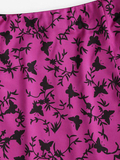 hot ZAFUL Slit Butterfly Print Mini Skirt - ROSE RED M Mobile