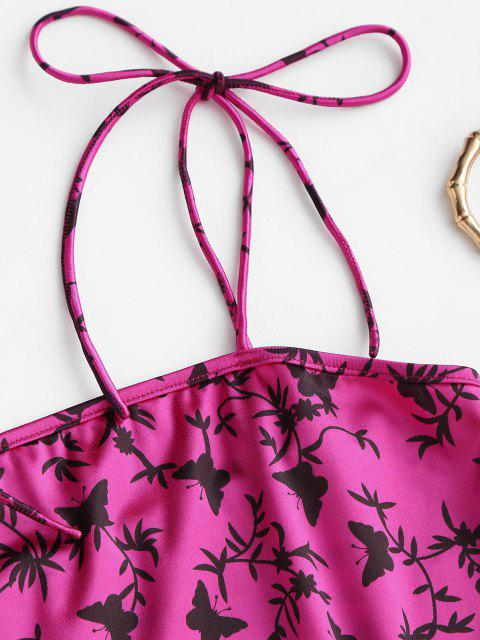 ZAFUL Mini Robe Moulante Fendue Papillon Imprimé - Rouge Rose S Mobile