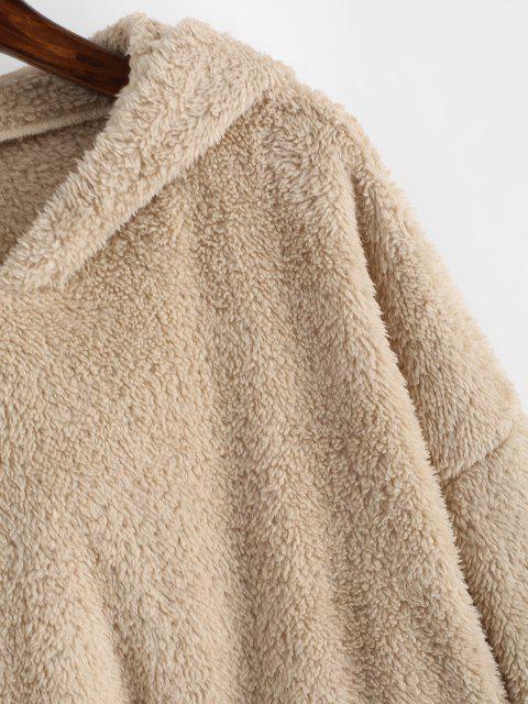 women's ZAFUL Fluffy Drop Shoulder Bear Ear Colorblock Hoodie - APRICOT XL Mobile