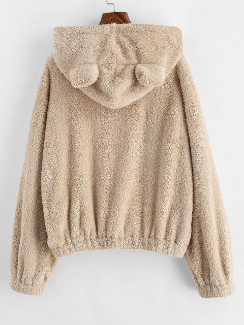 lady ZAFUL Fluffy Drop Shoulder Bear Ear Colorblock Hoodie - APRICOT M Mobile