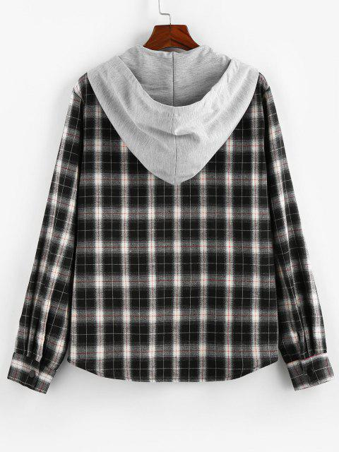 ZAFUL Plaid Pattern Pocket Colorblock Hooded Shirt - متعددة-B L Mobile