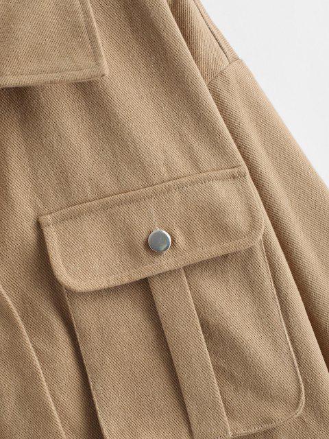 shop ZAFUL Pocket Drop Shoulder Cargo Jacket - LIGHT KHAKI S Mobile