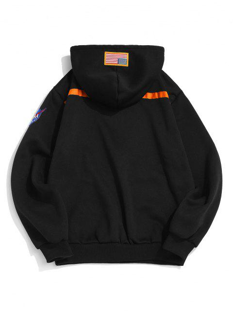 online Letter Text Print Embroidered Applique Fleece Hoodie - BLACK L Mobile