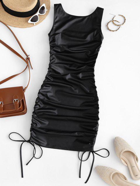 trendy ZAFUL Faux Leather Cinched Bodycon Dress - BLACK M Mobile