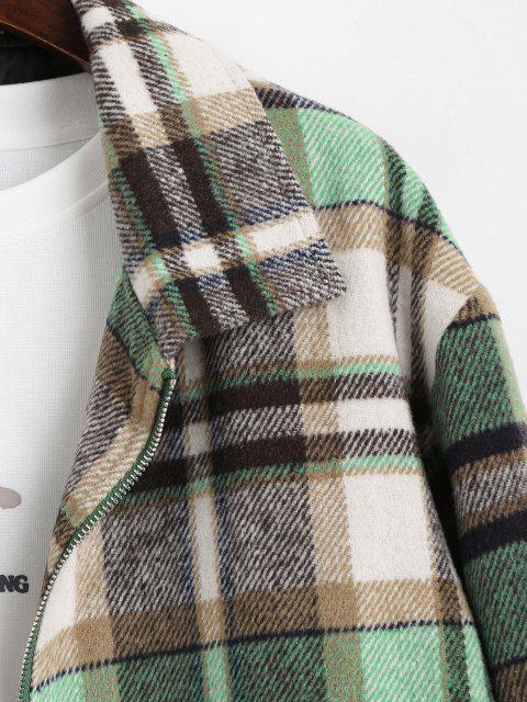 best Plaid Pattern Zip Up Wool Jacket - LIGHT GREEN L Mobile
