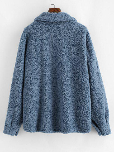 ZAFUL Flap Pockets Faux Fur Teddy Coat - ازرق رمادي XL Mobile