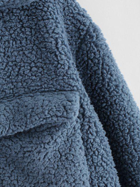 ZAFUL Abrigo de Piel Sintética con Bolsillos de Solapa - Gris Azulado XL Mobile