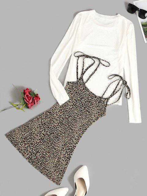 unique Ribbed Tee and Tie Shoulder Leopard Dress Set - COFFEE XL Mobile