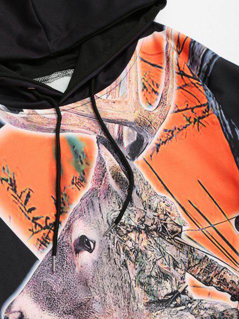 Elk Natal impressão Canguru Bolso com Cordão Moletom - Preto M Mobile