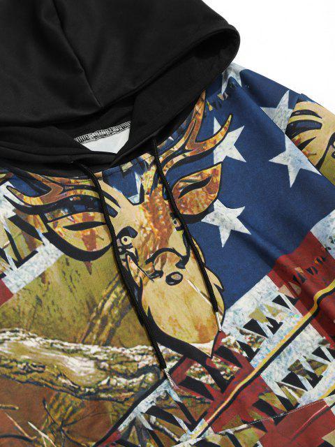 ladies Kangaroo Pocket American Flag Elk Print Hoodie - COOKIE BROWN L Mobile