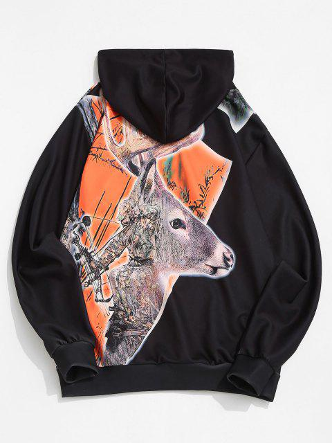 affordable Christmas Elk Print Kangaroo Pocket Drawstring Hoodie - BLACK L Mobile