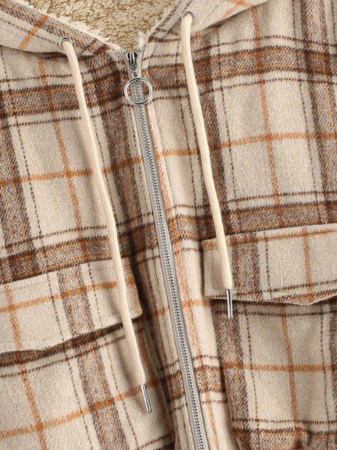 women ZAFUL Plaid Hooded Fleece Lined Pocket Jacket - TAN L Mobile