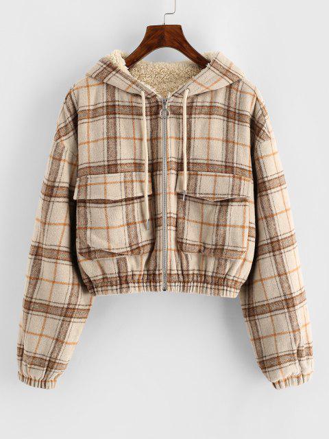 ZAFUL Plaid Hooded Fleece Lined Pocket Jacket - أسمر L Mobile