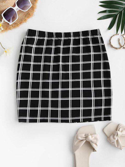 chic ZAFUL Plaid Split Mini Sheath Skirt - BLACK XL Mobile