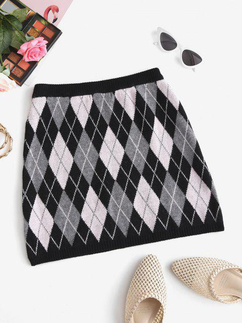 women's Knitted Argyle Mini Skirt - BLACK ONE SIZE Mobile