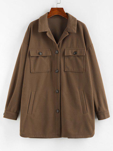 ZAFUL Flap Pocket Drop Shoulder Button Front Tunic Coat - دب بنى S Mobile