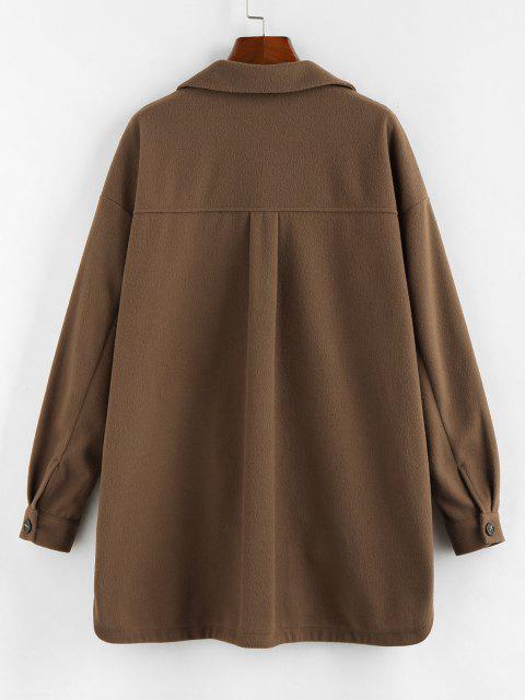 new ZAFUL Flap Pocket Drop Shoulder Button Front Tunic Coat - BROWN BEAR M Mobile