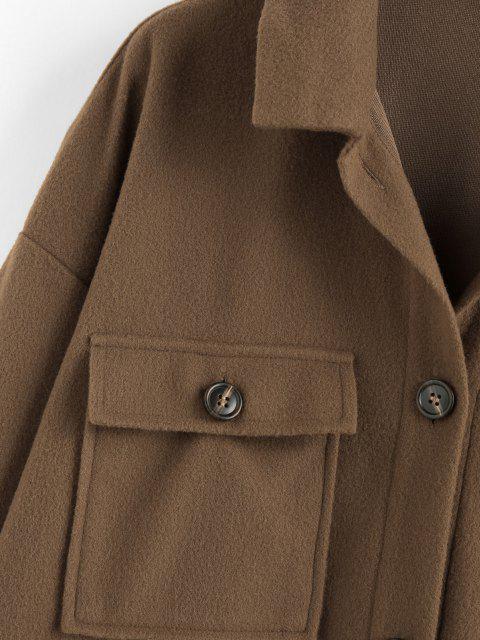 ZAFUL Pattentaschen Fallschulter Tunika Mantel mit Knopfleiste - Brauner Bär L Mobile
