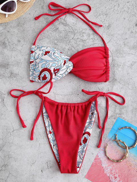 ZAFUL Bikini de Corte Alto con Patrón de Flor Acanalado - Rojo M Mobile