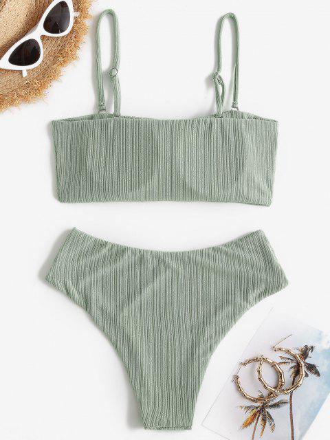 ZAFUL Costume da Bagno Bikini a Costine Incrociate a Gamba Alta con Taglio Alto - Verde chiaro S Mobile