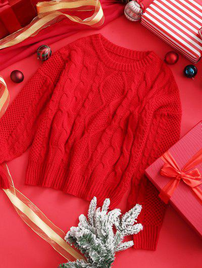 ZAFUL Christmas Cable Chunky Knit Drop Shoulder Sweater - Lava Red S