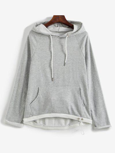 Loose Raglan Sleeve Contrasting Hoodie - Light Gray M