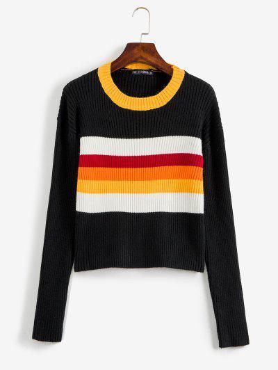 配色リブ付きセーター - 黒
